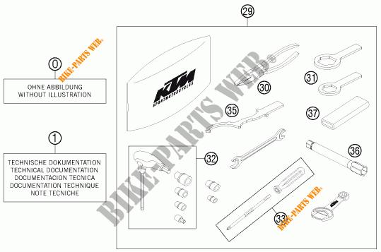 TOOL KIT / MANUALS / OPTIONS for KTM 690 DUKE WHITE ABS