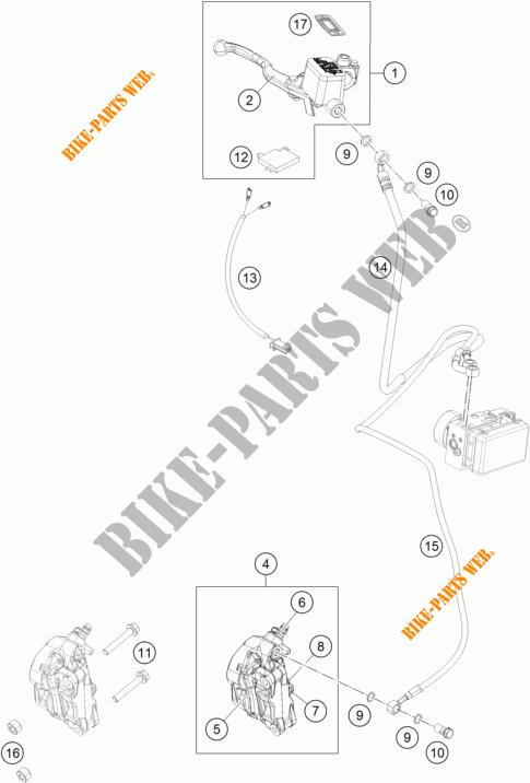 FRONT BRAKE CALIPER for KTM 390 DUKE BLACK ABS 2015 # KTM