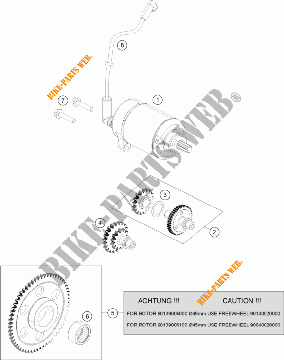ELECTRIC STARTER MOTOR for KTM 200 DUKE ORANGE ABS 2014