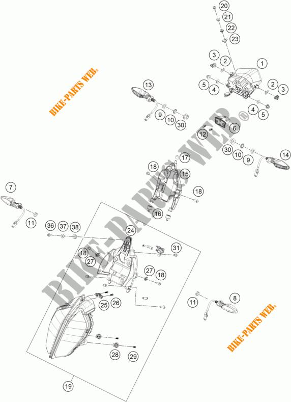 HEADLIGHT / TAIL LIGHT for KTM 125 DUKE ORANGE 2018 # KTM