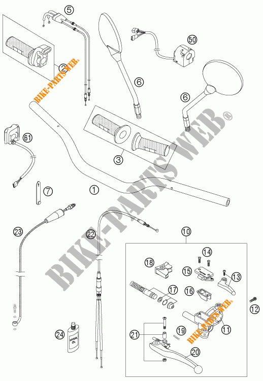 HANDLEBAR / CONTROLS for KTM 950 SUPER ENDURO R 2007 # KTM