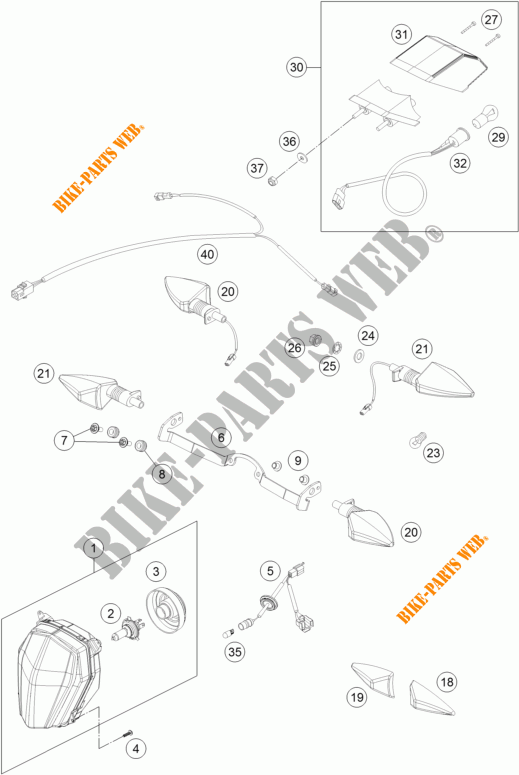 HEADLIGHT / TAIL LIGHT for KTM 690 ENDURO R ABS 2016 # KTM