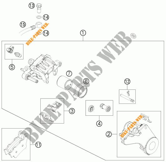 REAR BRAKE CALIPER for KTM 690 ENDURO R 2012 # KTM