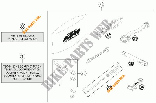 TOOL KIT / MANUALS / OPTIONS for KTM 690 ENDURO R 2012
