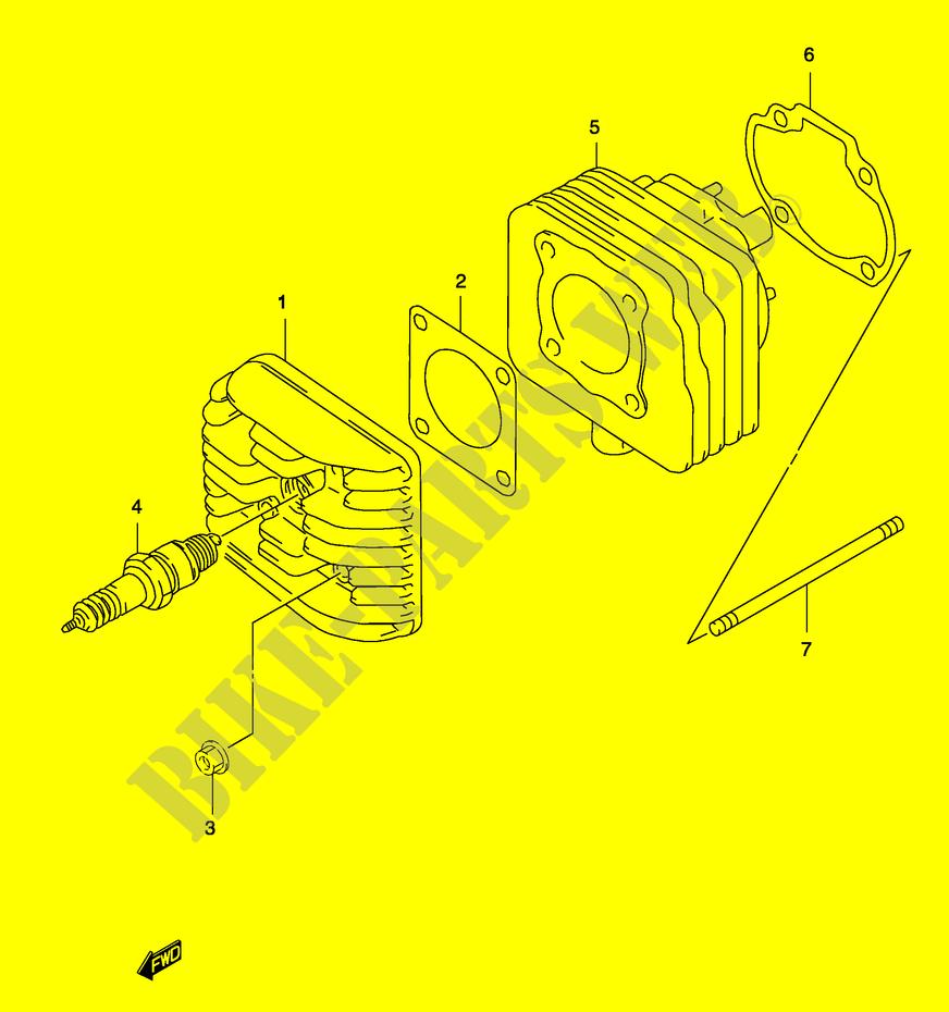 medium resolution of cylinder model ay50 k3 k4 engine transmission ay50k1 p19 2001 katanasuzuki scooter 50 katana 2001 ay50k1