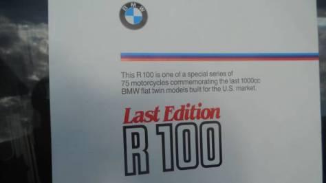 BMW R100 Last Edition - Marketing
