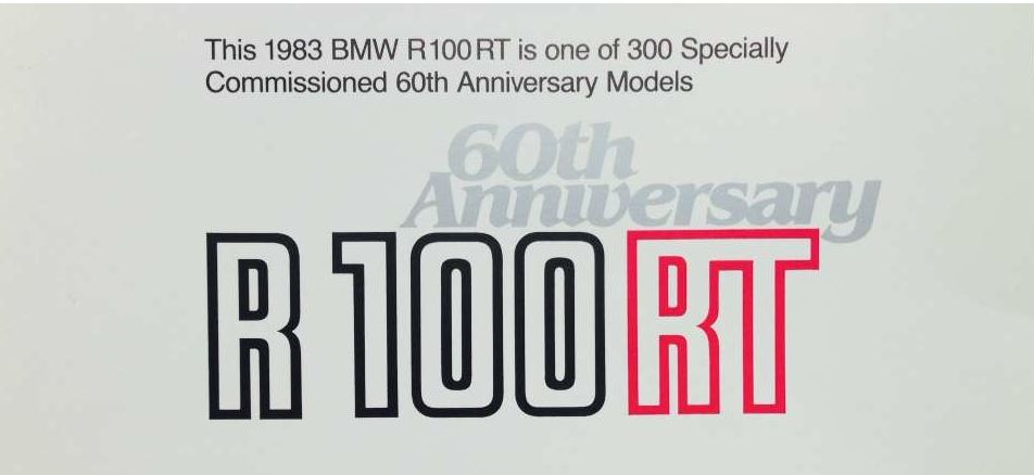 1 of 300 – 1983 BMW R100RT 60th Anniversary | Bike-urious