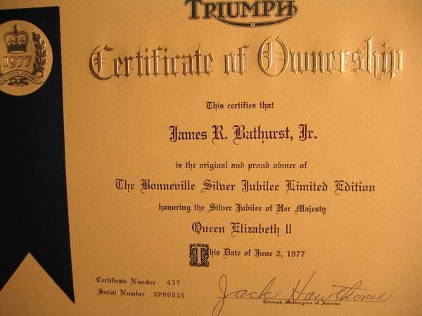 Triumph Bonneville Silver Jubilee – Certificate of Ownership | Bike ...