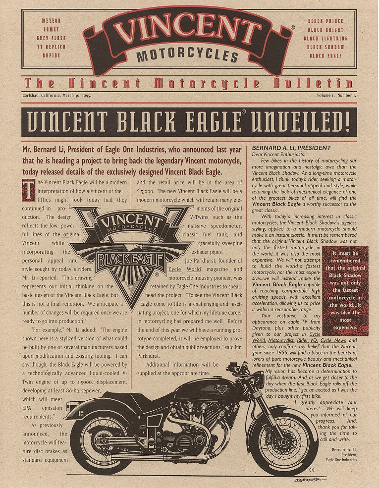 Vincent Black Eagle Prototype - Brochure Cover