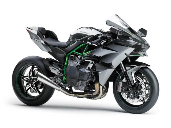 A Kawasaki Ninja H2R side on
