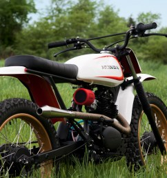 the result is a beautiful 125cc honda scrambler sporting a vintage honda cb125 engine in an xr80 frame the mashup of honda cb cl sl xr parts looks  [ 1250 x 833 Pixel ]