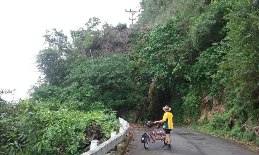 Jungle road in Cuba explored with a Tandem bike