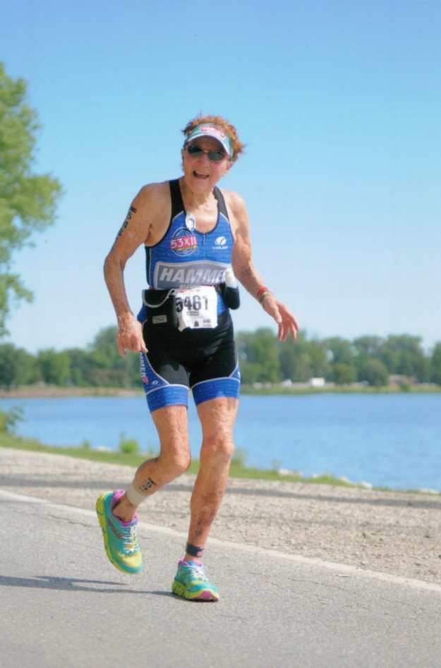 Molly Hayes, age 83, runs in a triathlon to stay young