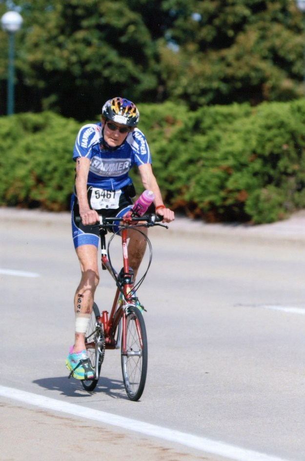 Triathlete Molly Hayes stays young by riding her Bike Friday competively