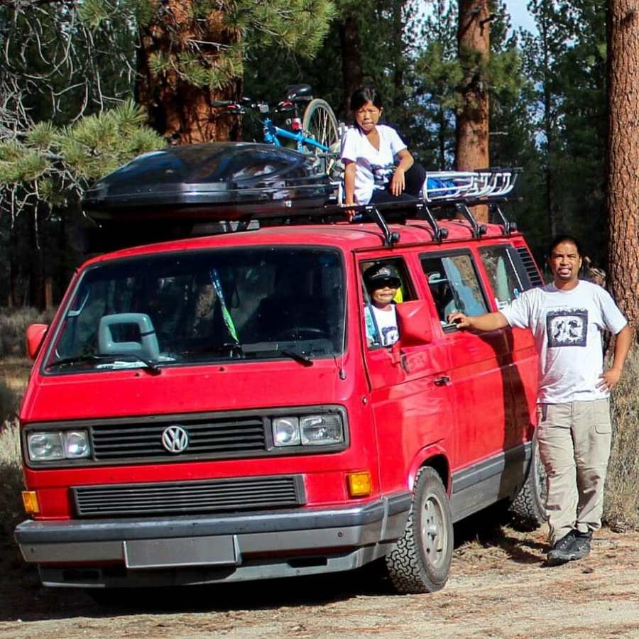 Fel, his kids, and their VW Vanagon, Arielle, at Descend on Bend