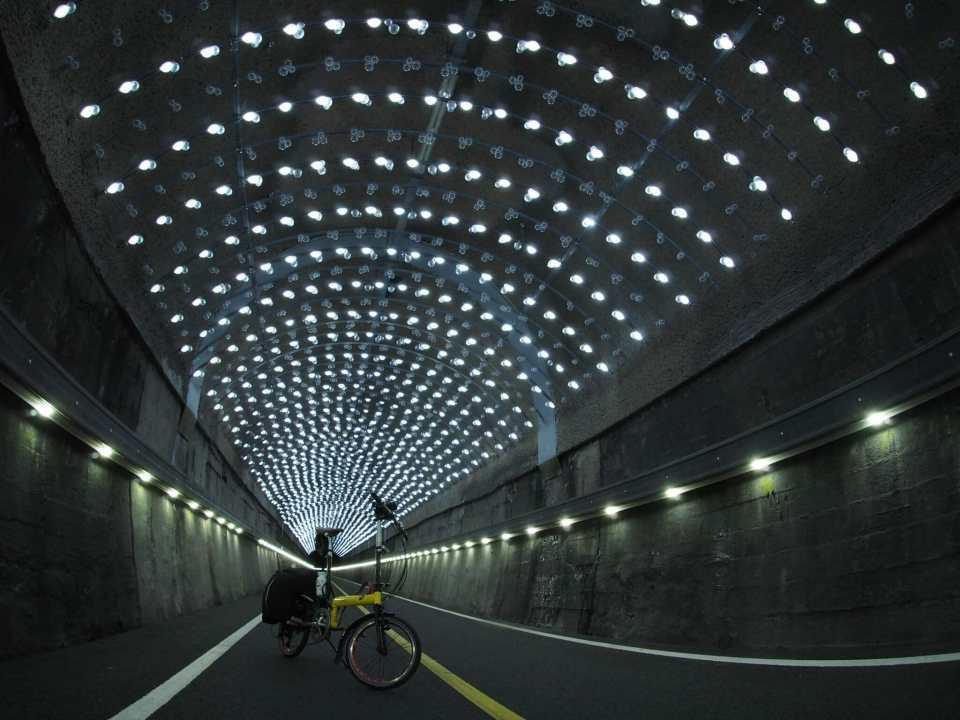 A folding bike in a magical tunnel in Korea