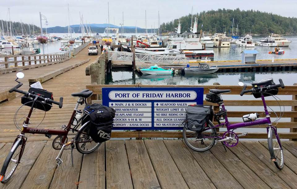 Here are two Bike Friday New World Tourist in Friday Harbor