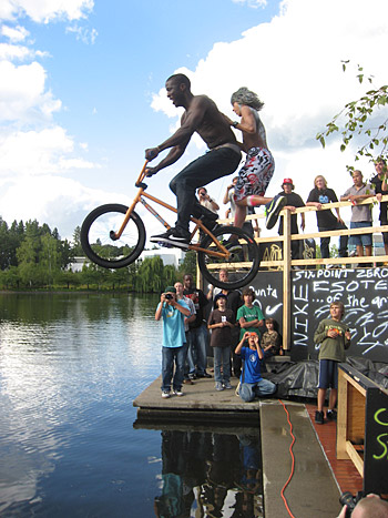 Nigel Sylvester and Sparrow Knox hit up the lake jump in tandem