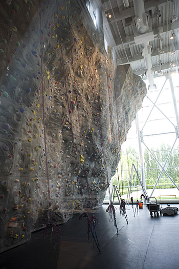 The top-rope climbing wall
