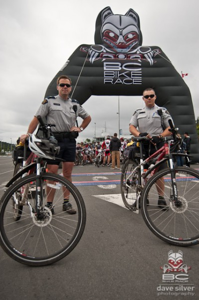 Bicycle police officers helped lead out the neutral start for stage one.