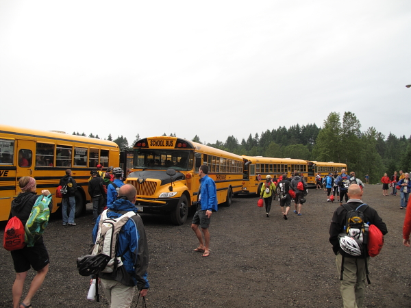 Transporting over 500 people takes an army of volunteers and a fleet of school buses.