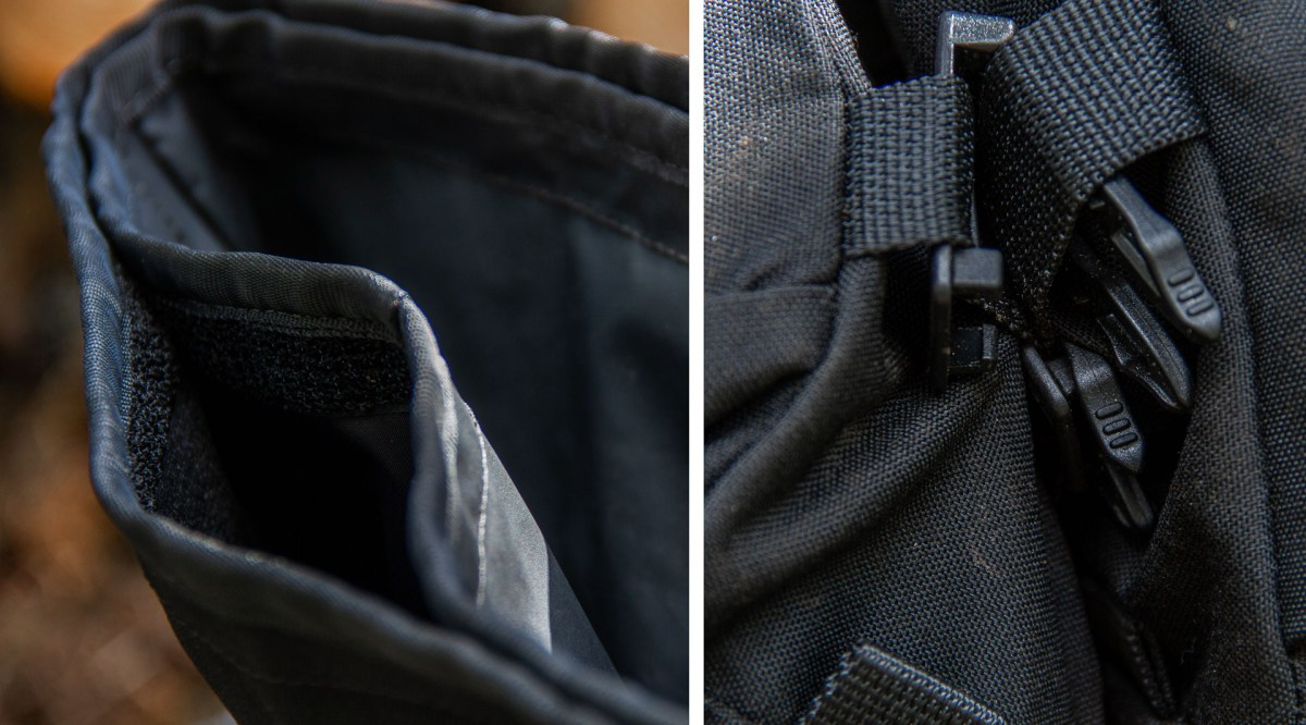 The optional waterproof liner is effective and invaluable on wet rides to store dry gloves. The optional accessories attach with MOLLE buckles.