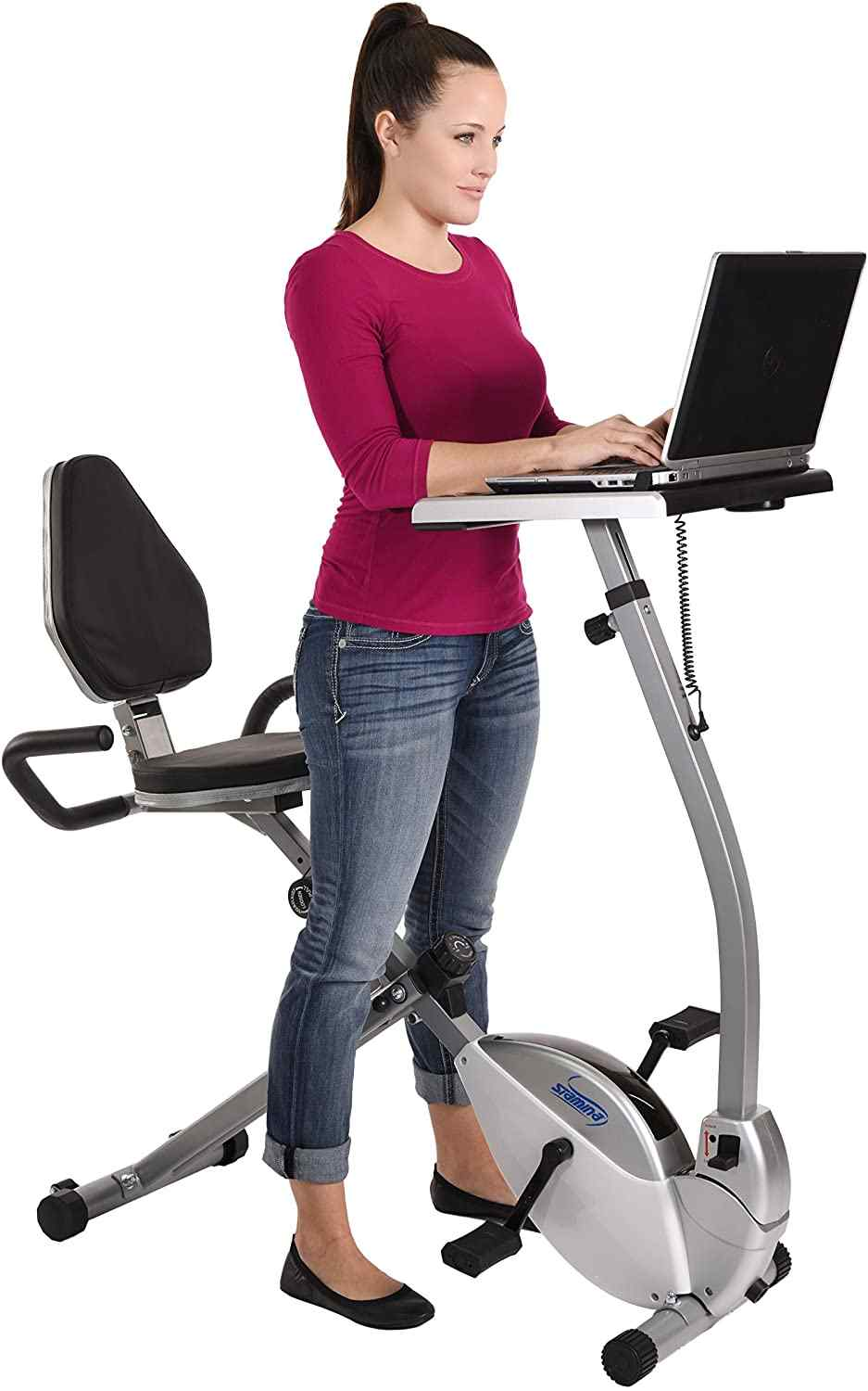 Stamina 2 in 1 recumbent exercise bike and workstation