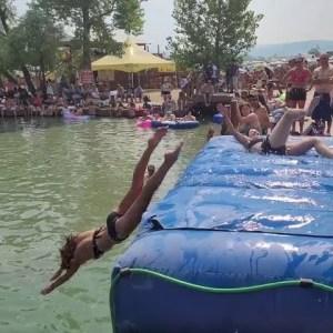 STURGIS Fun Times BIKER CHICKS Slip and Slide Swim Bikini's Motorcycle Rally