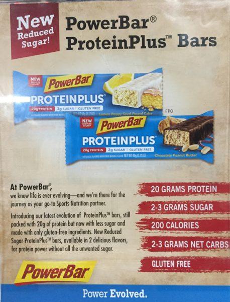 Powerbar protein plus bars now have less sugar