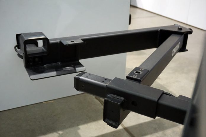 Thule Swing hitch mount adapter lets you swing your bike rack away from the vehicle for easy trunk and tailgate access without removing the bikes