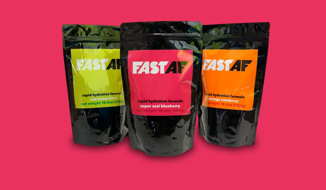 FastAF Hydration sports drink mix from organic flavors and real fruit powders with a complete electrolyte profile and clean refreshingly light taste that's not too sweet