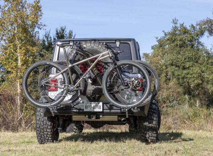Roam Offroad integrated rear bumper swing-away bike rack and spare tire mount for Jeep Wrangler JL