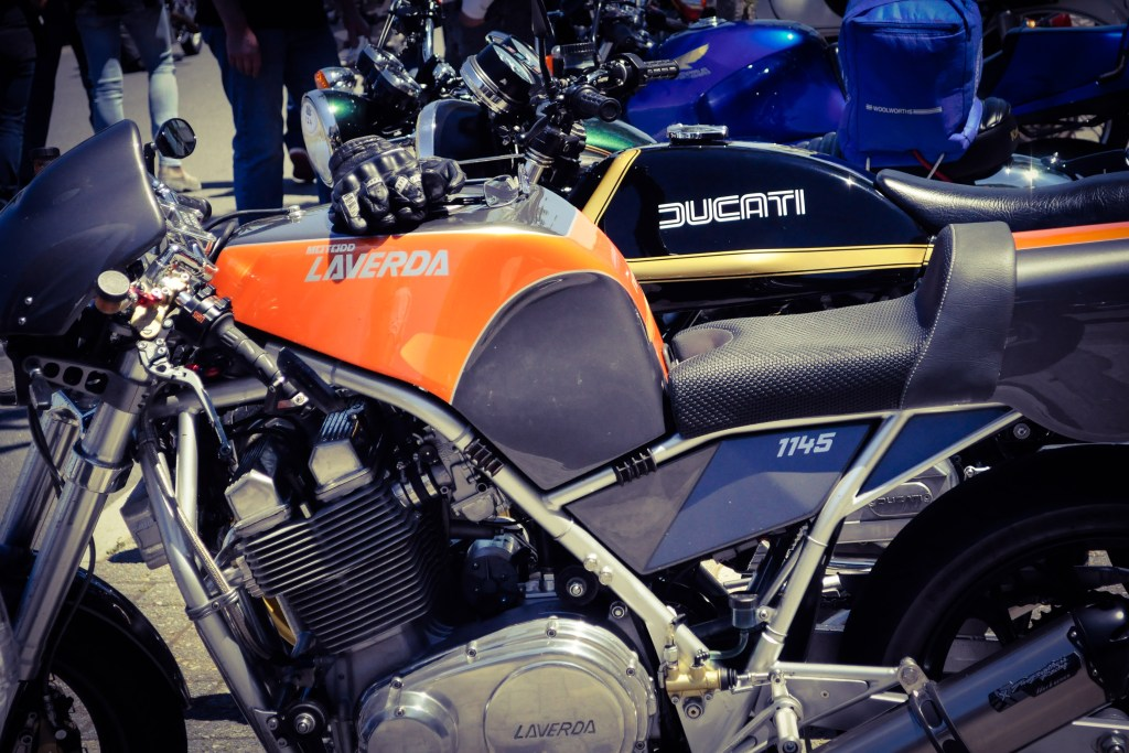 CAPTION: What do we say? Beautiful Laverda, in orange, of course.