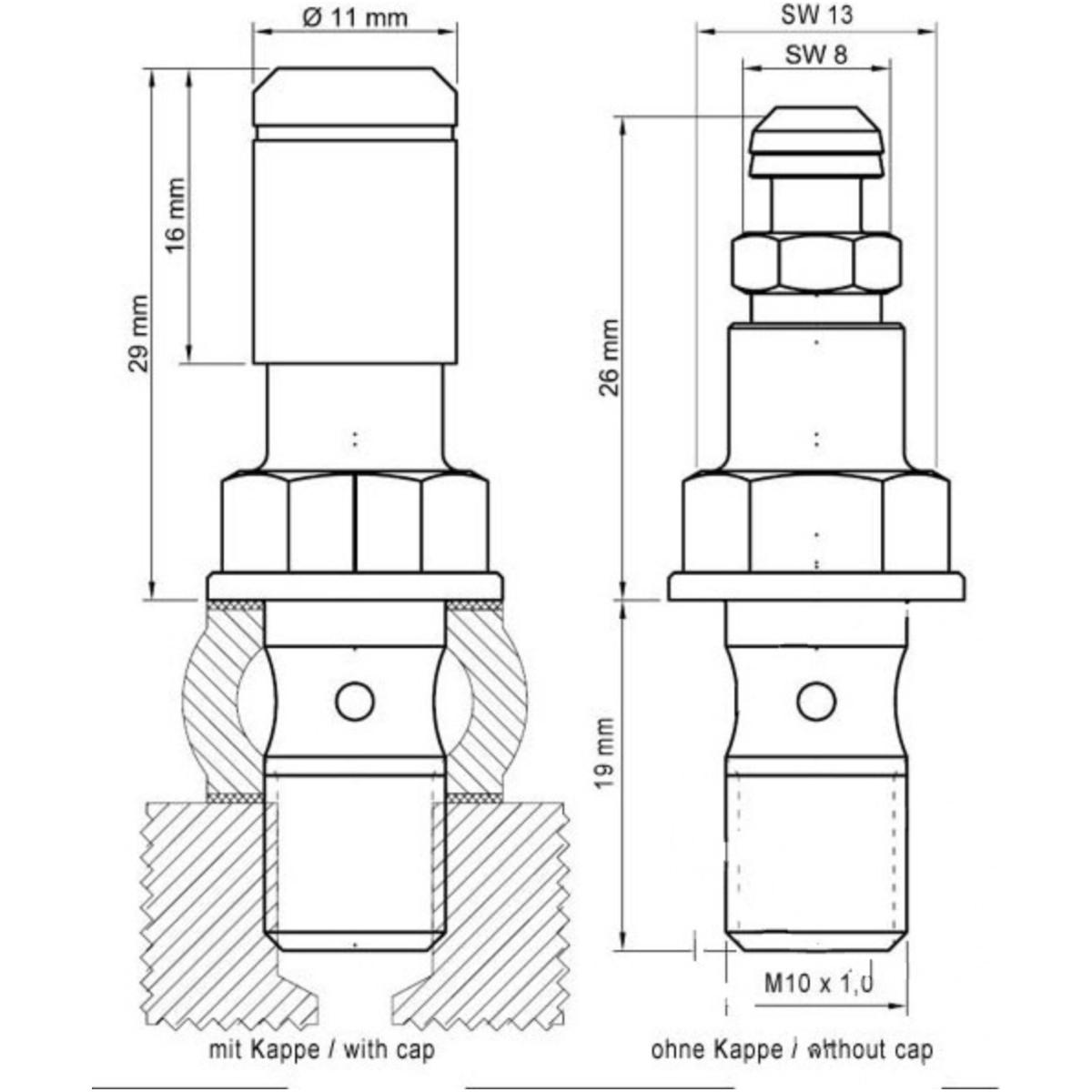 Hohlschraube einfach M10 x 1 Moto Guzzi Stelvio 78830