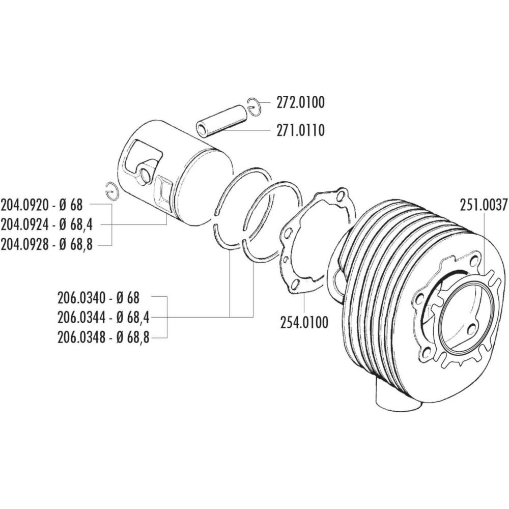 medium resolution of piston ring polini 68 8mm for vespa 200 pe px 206 0348