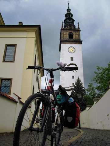 bike in front of St. Stephen Cathedral in Litomerice