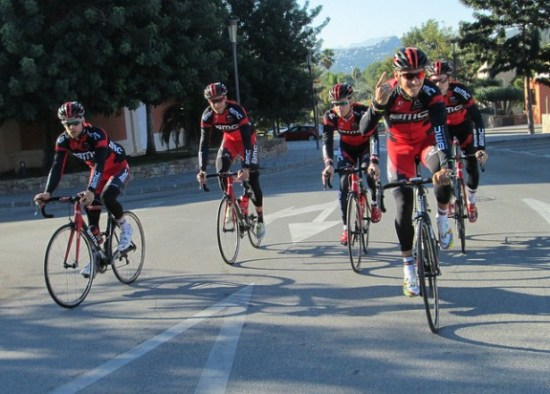 Training rides are often divided into groups decided by which riders will be competing in early-season races. (Photo by Sean Weide, BMC Racing Team.)
