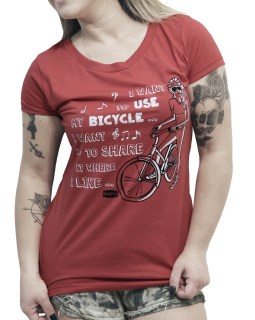 Camiseta casual Feminina Bicycle Race - Vermelha mescla