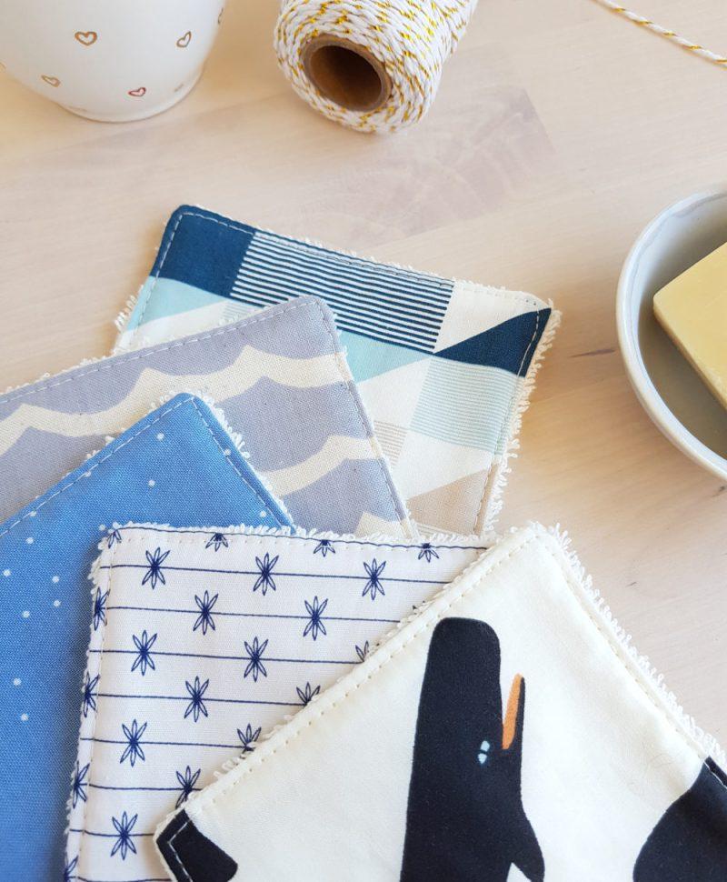 coton lavables bebe baleine bleu lingette carre