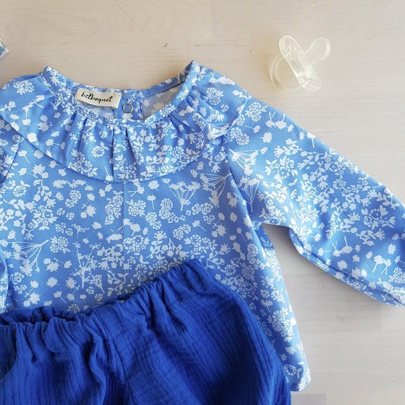 bloomer bebe bleu vetement fille enfant col claudine fleur