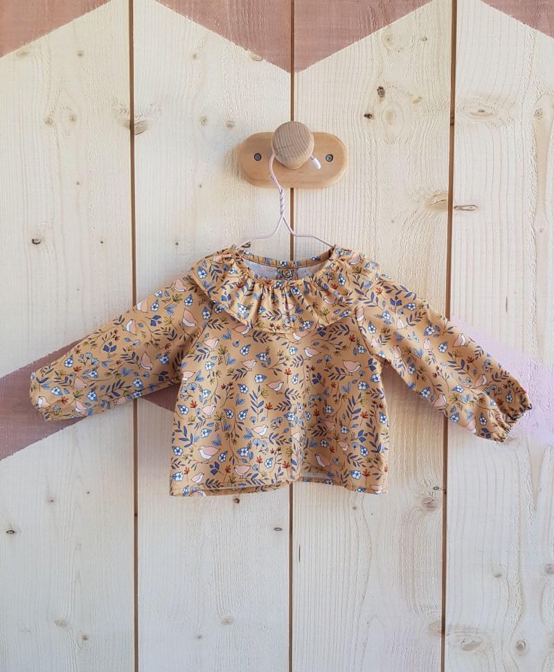 blouse bebe fille camel oiseau vetement lyon col claudine vintage bilboquet chemisier chemise