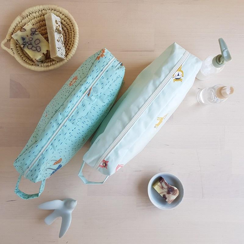 trousse toilette voyage impermeable place garcon cadeau bebe coton enduit