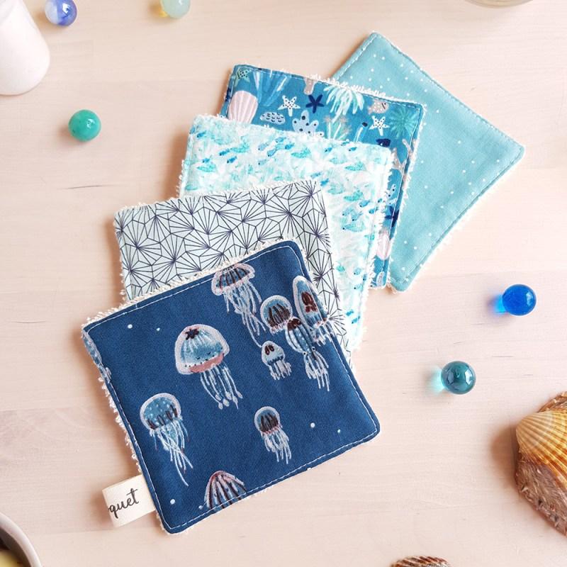 lot lingettes lavables carre coton meduse garcon cadeau bleu turquoise