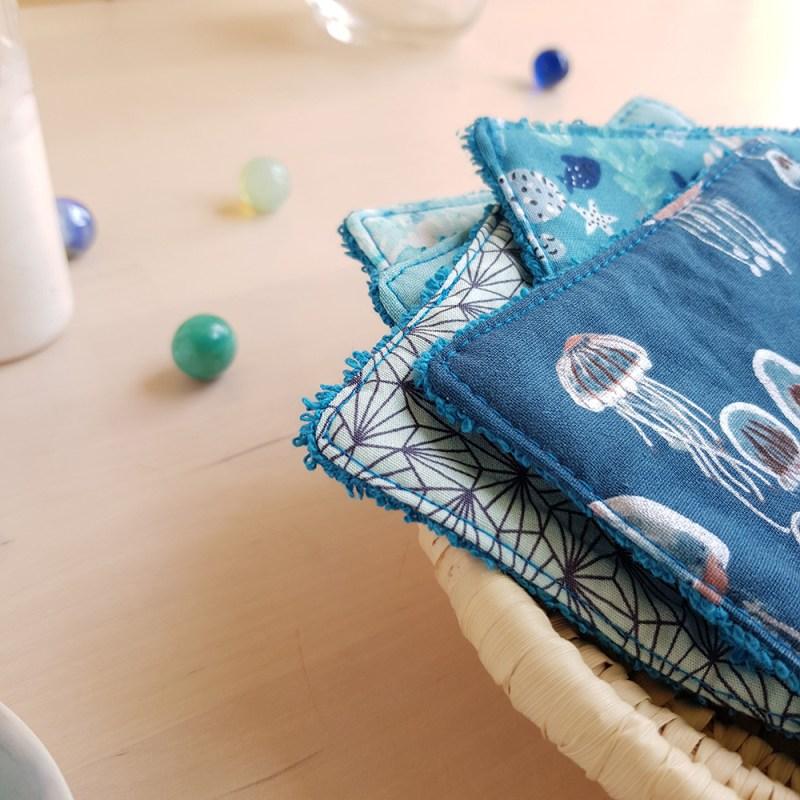 lingette lavable coton bleu garcon fonce demaquillantes reutilisable ecolo zero dechet