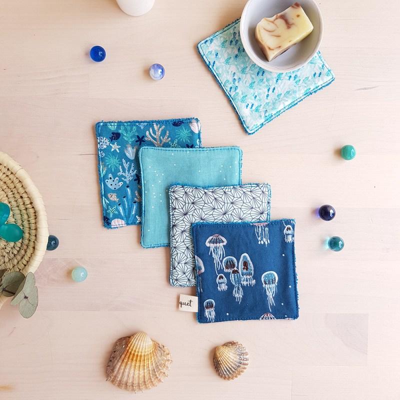 lingettes lavables demaquillantes bleu eponge coton zero dechet famille bebe debarbouillette cadeau naissance garcon maman