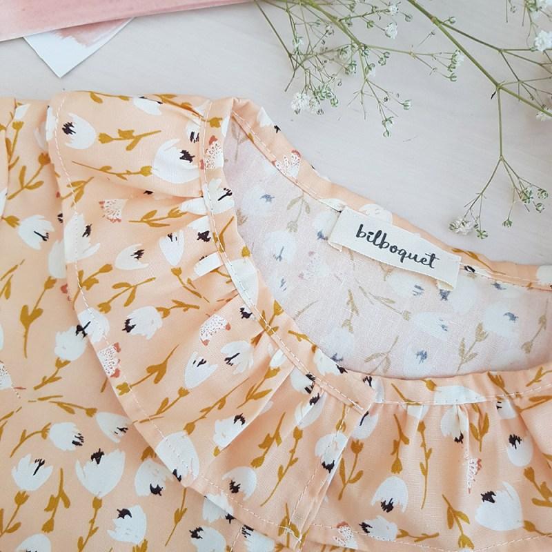 blouse col claudine pierrot fronce petite fille fillette rose fleur cadeau vetement mode ethique france francaise bilboquet