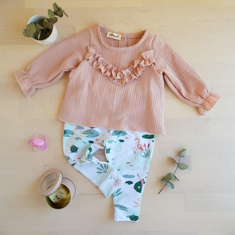 ensemle bebe lyon mode enfantine made in france blouse bebe fille rose double gaze oekotex legging jersey lyon bilboquet