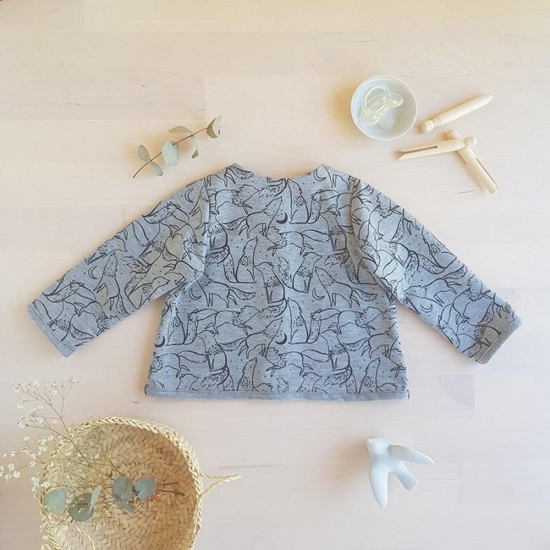veste manche longues sweat pull bebe garcon gris mode cadeau lyon vetement createur slow fashion bilboquet kids