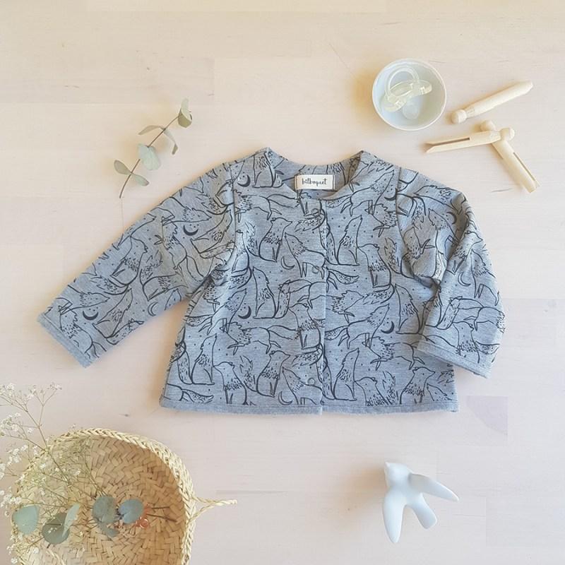 veste bebe manches longues jersey oekotex vetement enfant garcon loup petit made in france francaise bilboquet naissance hiver