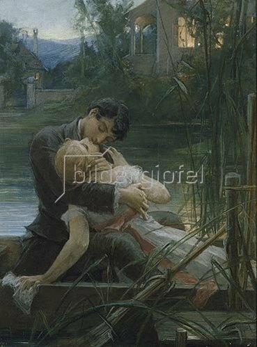 Liebespaar im Kahn von Maximilian Pirner Kunstdruck